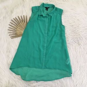 H&M Kelly Green High Low Sheer Sleeveless Blouse